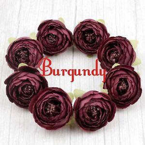 "20-100Pcs 2"" Burgundy Artificial Silk Flower Head Fake Rose/Camellia/Peony Decor"