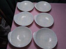 """Royal China USA Tweed Blue Bowls Lugged (6) 6 7/8"""""""