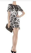 Stella McCartney Runway Grey Leopard Animal Print Silk Shift Dress IT40 UK 8