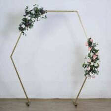 LeilaniWholesale 8ft Hexagon Metal Wedding Arch Backdrop Stand - Gold (BKDP_STNDHEX1_GOLD)