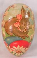 Easter Egg Candy Container Bunny Rabbit Papier Mache Vintage Flowers Large #2