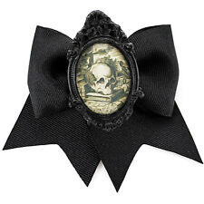 Project Pinup Antique Skull Cameo Black Hair Bow Clip Psychobilly Goth