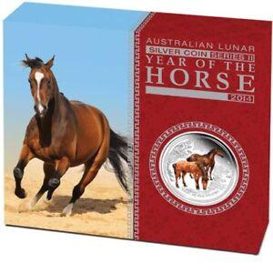 Lunar II Pferd Horse PROOF Box farbig 2014 polierte Platte PP 0,5oz Farbe colour