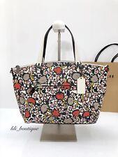 NWT Coach 58876 Floral Prairie Satchel Handbag Purse Leather Chalk Yankee $350