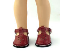 """Burgundy Flower Dress Shoes Fits Wellie Wishers 14.5"""" American Girl Clothes Shoe"""