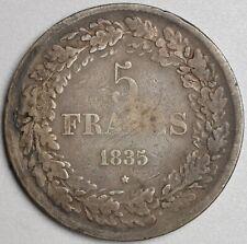 5 francs argent 1835 pos.A , Léopold 1er