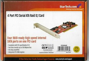 STARTECH - 4 Port PCI Serial ATA Raid 0,1 Controller Adapter Card - PCISATA4R1