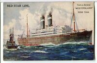 Red Star Line's T.S.S. WESTERNLAND Underway 1929 - 1934 Ships Postcard