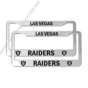 2PCS Las Vegas Raiders Chrome License Plate Frame Set Auto Truck Car Tag Cover