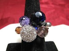 CLEAR RHINESTONE ROUND BALLS PURPLE FASHION CLUSTER COCKTAIL RING SIZE 8.25