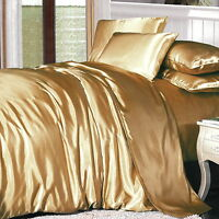 LUXURY Soft Silk Feel GOLD SATIN QUEEN Size Doona Duvet Quilt Cover Bedding Set