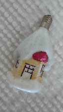 Antique Figural Glass Christmas Light Bulb House w/ Snow Covered Roof