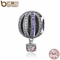 BAMOER 925 Sterling silver Charm Romantic hot air balloon & CZ Fit bracelet