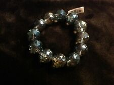 Tanzanite coloured crystal faceted bead (17-19mm rounds) stretch bracelet size 7