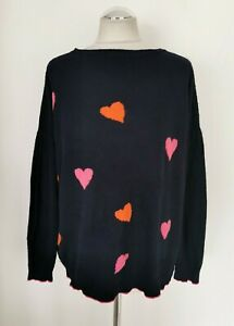 LUELLA CASHMERE WOOL NAVY WITH HEART OVERSIZED SLOUCHY JUMPER. ONE SIZE