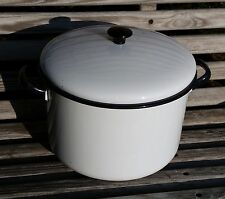Vintage Enamel Ware White & Black Large Stock Pot With Lid 11 Cups ,#0715-242