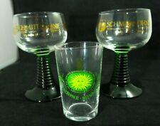3 Schmitt Sohne W.Germany Wine Taster Glasses Green Glass Beehive Stems Plus
