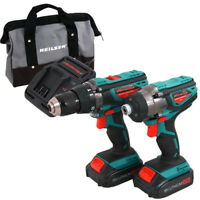 18V LI-ION CORDLESS DRILL TWIN HAMMER DRILLS SET IMPACT DRIVER KIT IN CASE