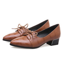 Women Pumps Block Flat Heels Oxford Pointed Toe Synthetic Lace Up Ladies Shoes