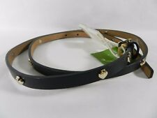 kate spade new york Logo  Black Leather Skinny Belt, M