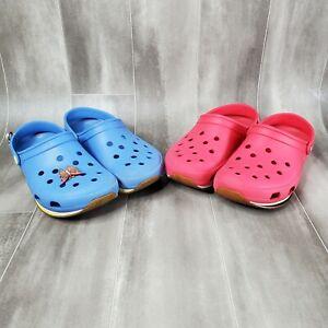 Blue & Red Unisex Crocs Clogs Lot Gum Rubber Sole Butterfly Charm M8 W10