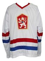 Custom Name # Czechoslovakia Retro Hockey Jersey New White Hasek Any Size