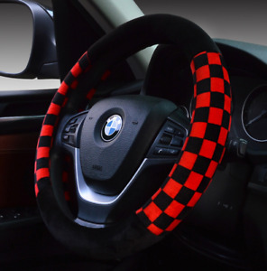 UKNEST COTTON RED BK LATTICE STEERING WHEEL COVER GLOVE FOR UNIVERSAL CARS