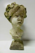 ORIGINAL OLD CONCRETE GARDEN STATUE BUST CLASSIC ROMAN BOY VINE LEAF WREATH
