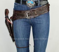 Cinturone western in cuoio lavorato Western belt leather working one holster