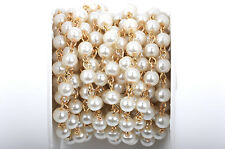 1yd Ivory Cream Pearl Rosary Chain, Gold, 6mm round glass beads fch0422a