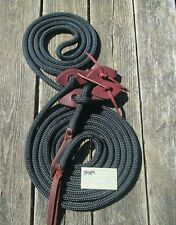 """22/' BLACK Mecate Reins USA 9//16/"""" DB Polyester Yacht Rope w Poppers Rose Lodge!"""