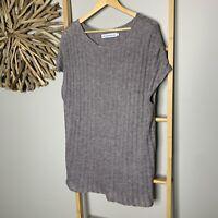 The Launderette Size M 12 Women's Oversized Knit Tunic Long Top Dress Grey Boho