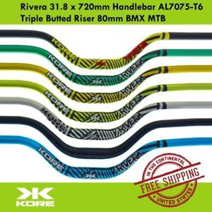KORE Rivera 31.8 x 720mm Handlebar AL7075-T6 Triple Butted Riser 80mm BMX MTB