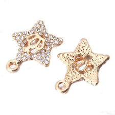 20x Gold Plated Rhinestone Inlayed Crown Star Charms Alloy Pendants Craft Lots D