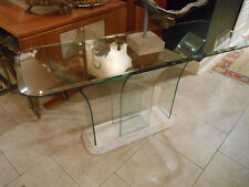 Mid-century Style, Milo Baughman Era, Waterfall -Curved -ALL glass Console Table