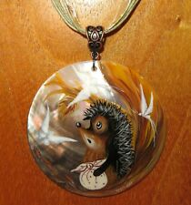 Shell PENDANT Hedgehog in the fog cartoon Genuine Russian hand painted CUTE BABY
