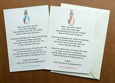 Peter Rabbit Will you be my Godparent / Godmother/ Godfather/ Guide parents card