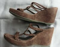 ❤️ Size 6 / 39 Bertie Sandals Brown Suede Leather 9cm / 3.5 inches Wedge
