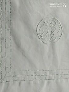 """Vintage White Tablecloth Delicate Threadwork Embroidery Monogram Approx 60"""" x62"""""""