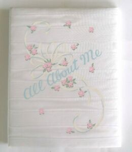 """Vintage 1956 C.R. Gibson """"All About Me"""" Satin Baby Book Memory Album Unisex NEW"""