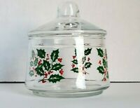 Vintage Indiana Glass Holly Berry Christmas Snack Candy Dish Mid Century