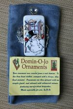 Handcrafted Artist Domino Ornament Pin Snowman Theme with Bead Accents