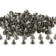 100Pcs 10mm Spots Cone Screw Metal Studs Leathercraft Rivet Bullet Spikes Black