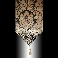 LUXURY RETRO BLACK BRONZE DAMASK VELVET DECORATIVE TASSEL TABLE RUNNER CLOTH