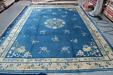 Antique Art Deco Blue Peking Chinese Pekin Rug Hand Knotted Wool 9' x 11'-7