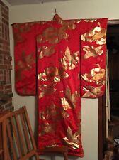 (W-KIM-1) Rare vintage red Silk Kakeshita Japanese Wedding Kimono crane floral
