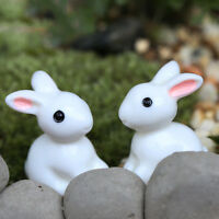 2X Miniature Rabbit Figurine Fairy Garden Dollhouse Decor Pots Ornament DIY E.