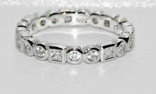 Sterling Silver 1.00ct Full Eternity Wedding Art Deco Design Ring - Fine Quality