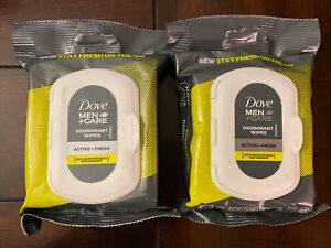 Dove Men Care Deodorant Wipes 2 Packs 50 Towelettes Active + Fresh On The Go