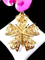 CROWN TRIFARI GOLDTONE FINISH CHAIN NECKLACE FILAGREE LARGE 5 POINT STAR PENDANT